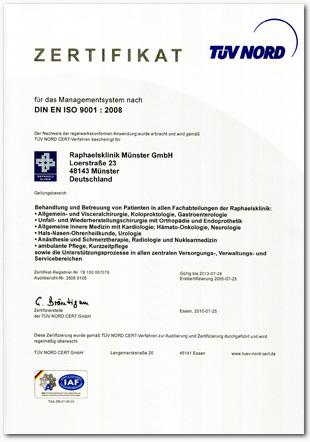 TUEV-Zertifikat Zertifiziertes Prostatazentrum
